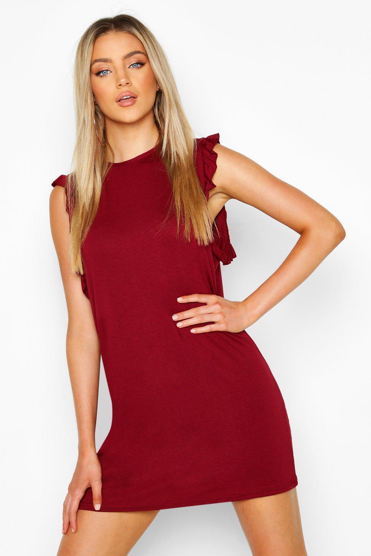 Платье-футляр из джерси с оборчатой отделкой