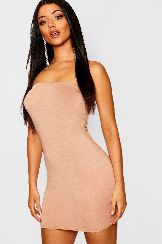 Облегающее платье из джерси без бретелек
