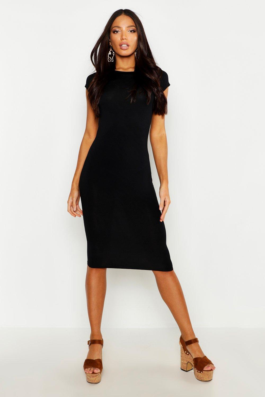 Облегающее миди-платье из джерси с короткими рукавами