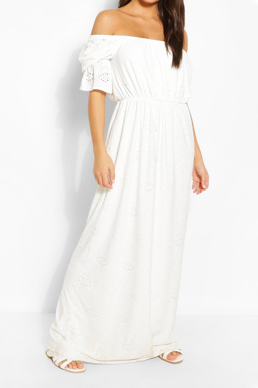 Макси-платье из джерси с открытыми плечами и вышивкой