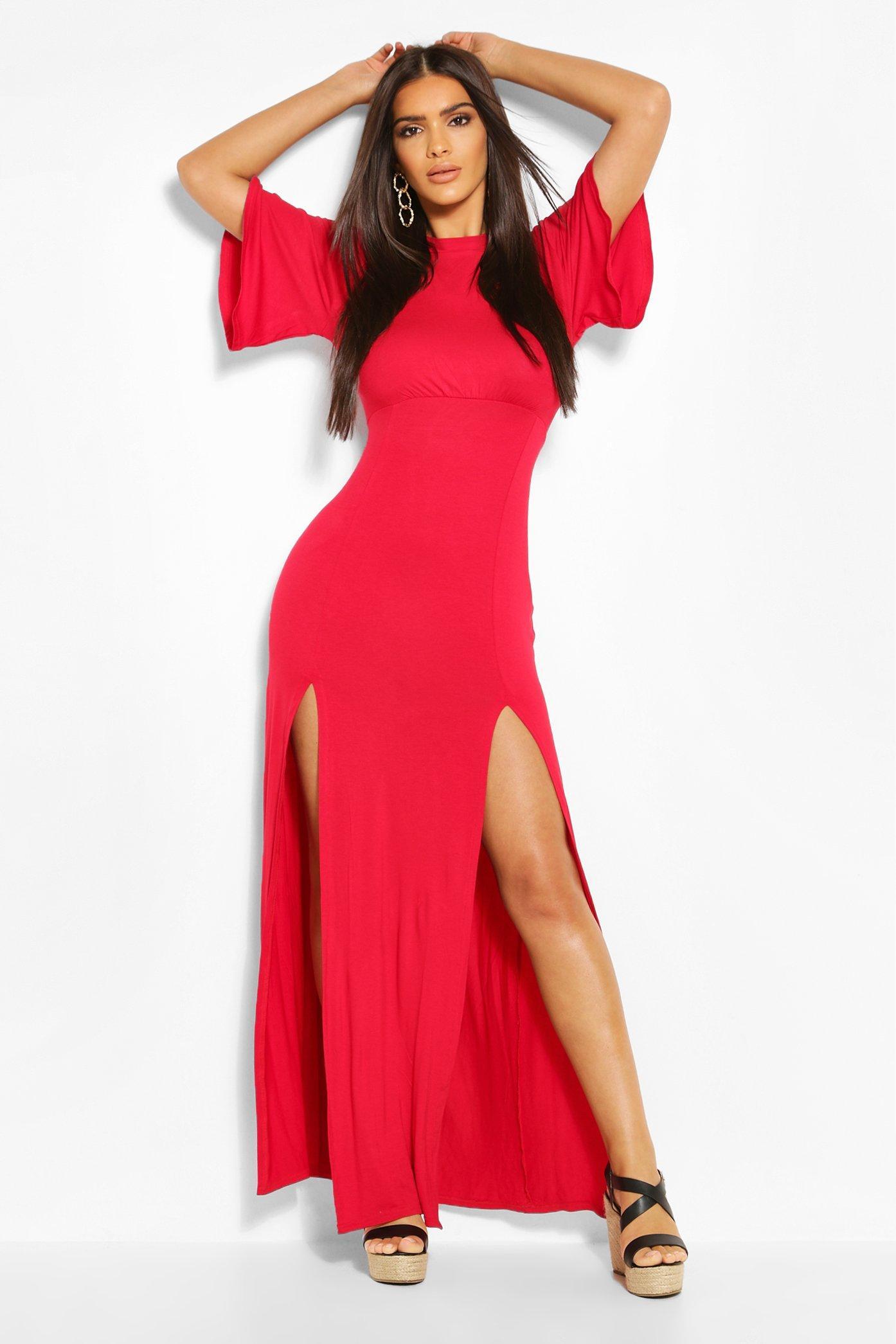Платье мидакси из джерси с волнистыми строчками