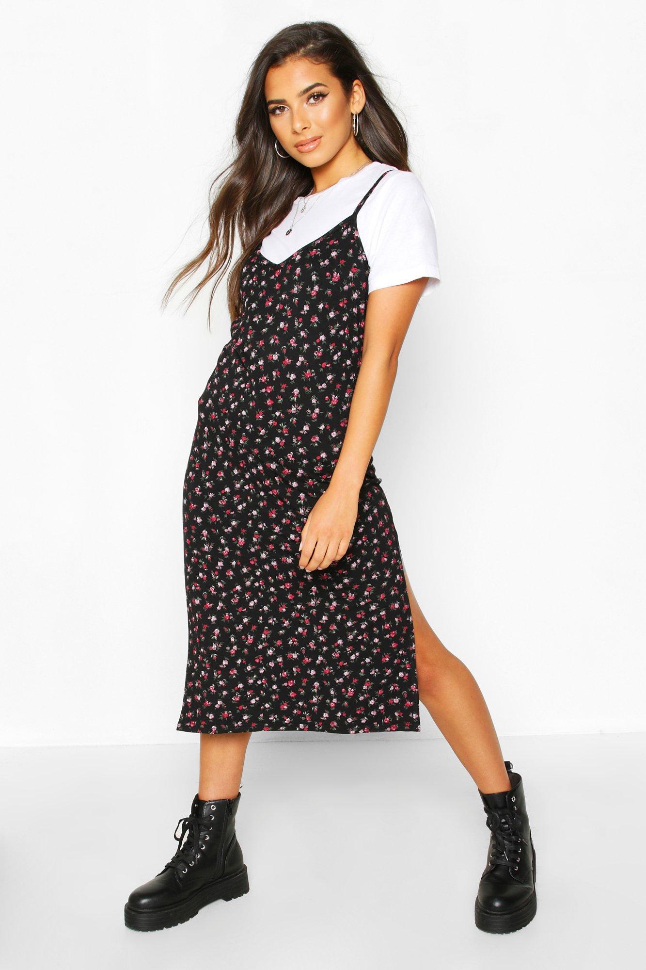 Платье-комбинация миди из джерси с принтом в мелкий цветочек