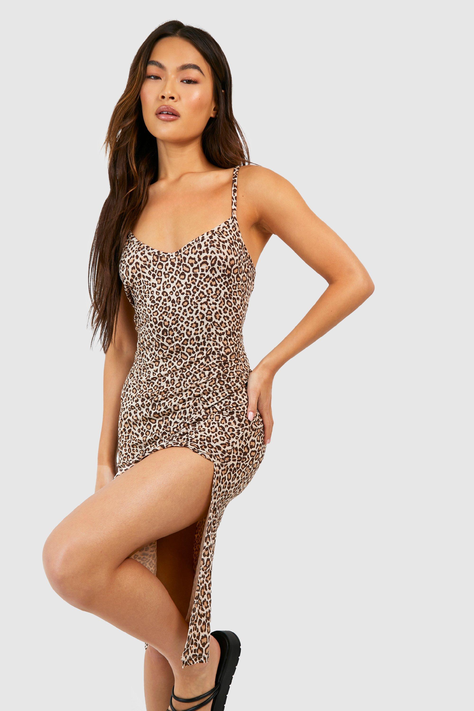 Платье-комбинация миди из джерси с леопардовым принтом