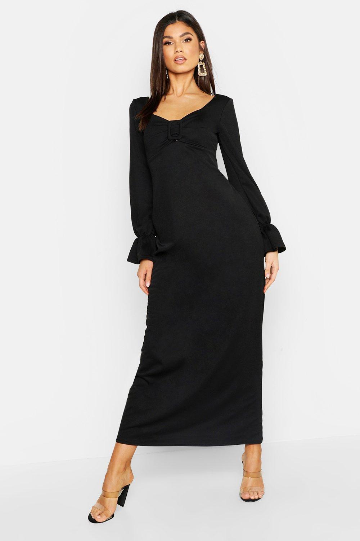 Макси-платье из джерси с пряжкой в фермерском стиле