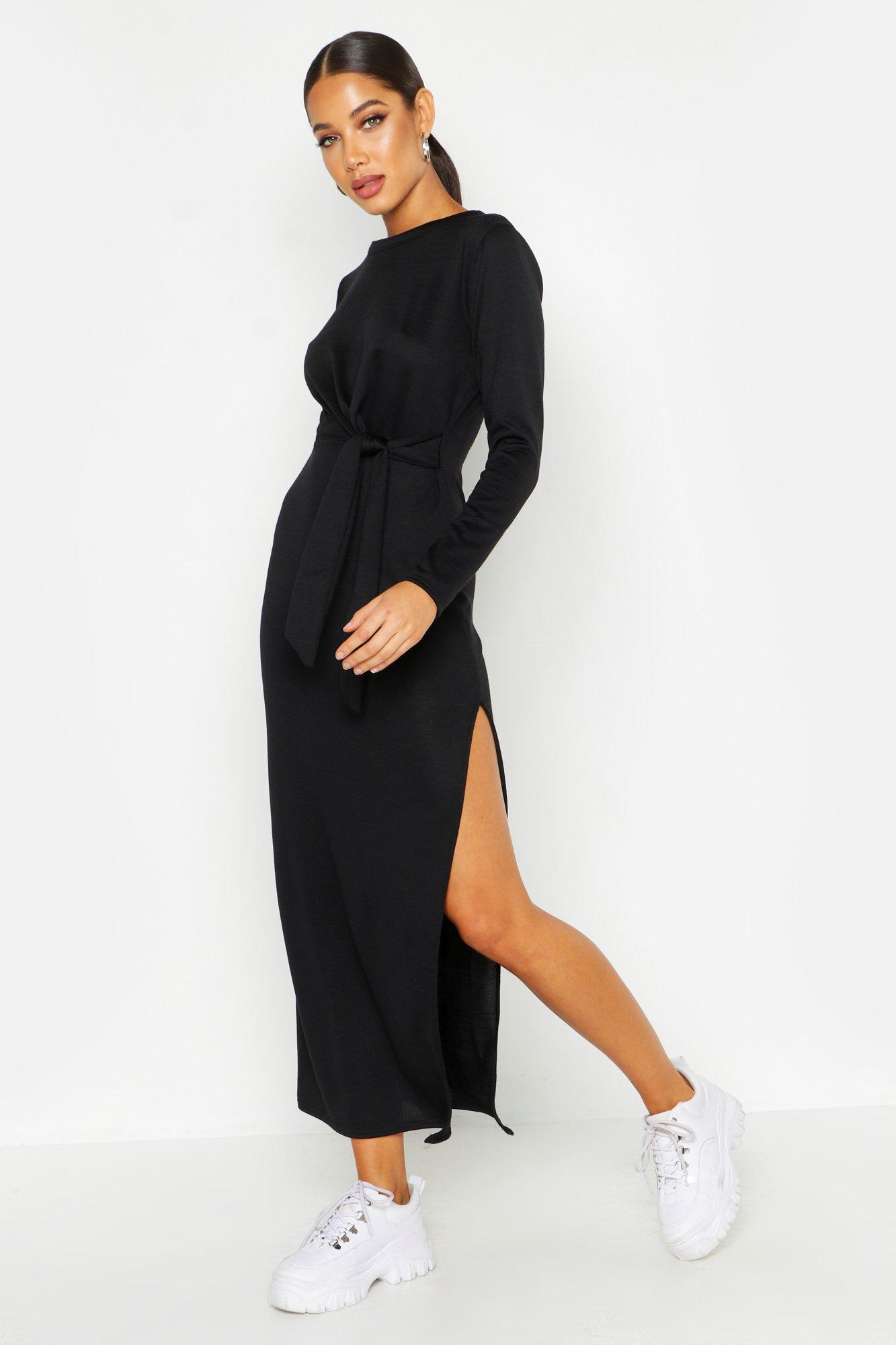 Макси-платье из джерси с трикотажным узлом сбоку