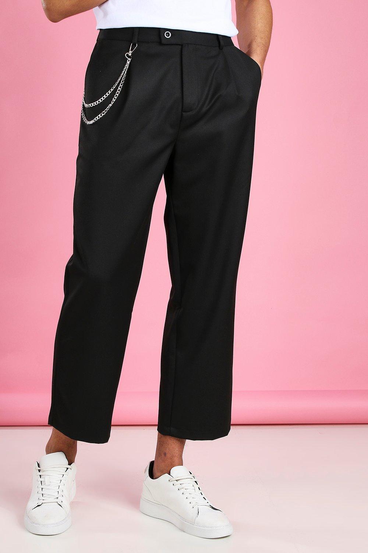 Укороченные повседневные широкие брюки с цепочкой
