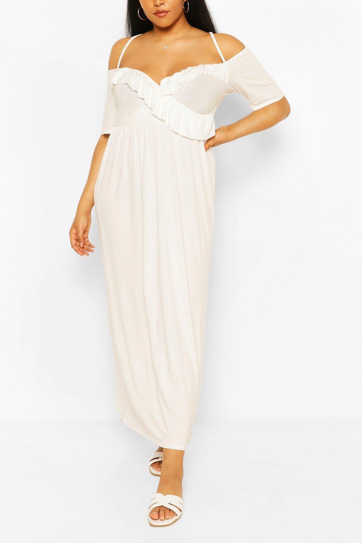 Из коллекции «Плюс сайз»— Макси платье из джерси с оборками и открытыми плечами