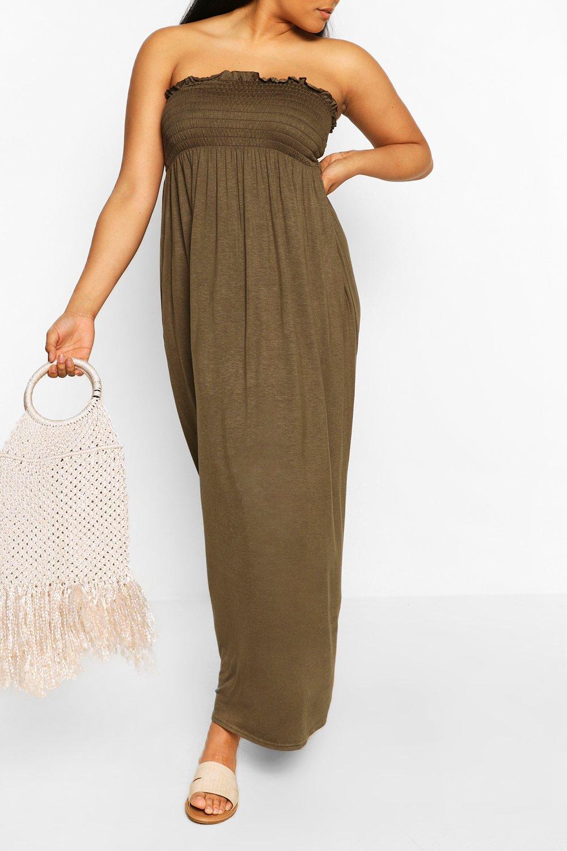 Из коллекции «Плюс сайз»— Платье макси бандо со сборками из джерси