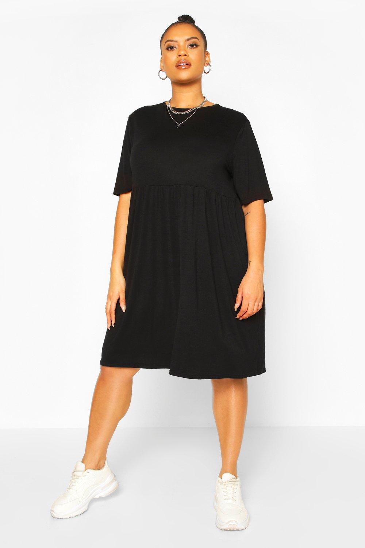 Из коллекции «Плюс сайз»— Свободное платье из джерси с оборками по кайме