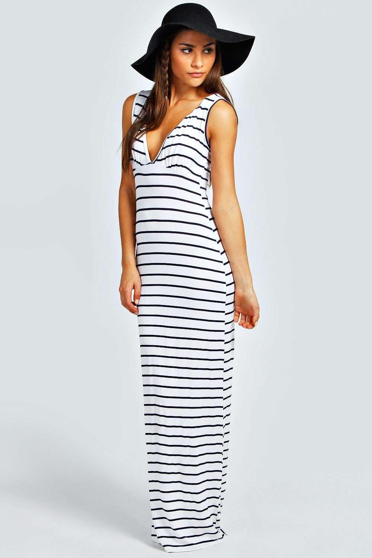 Макси-платье из джерси в полоску с глубоким вырезом