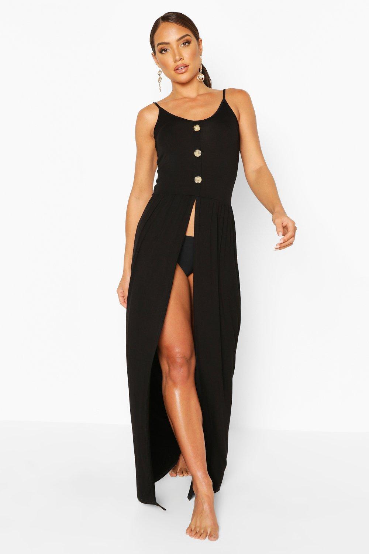 Пляжное платье макси из джерси с разрезами и пуговицами