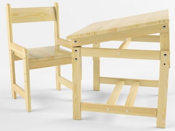 Русские игрушки Растущий набор (стол-парта, стул) деревянный не окрашен