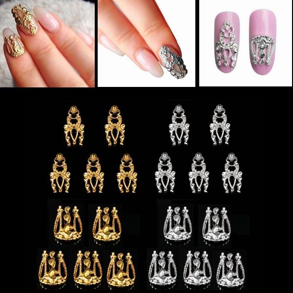 Шт сплава 3D золото серебро выдалбливают искусства ногтя DIY украшения