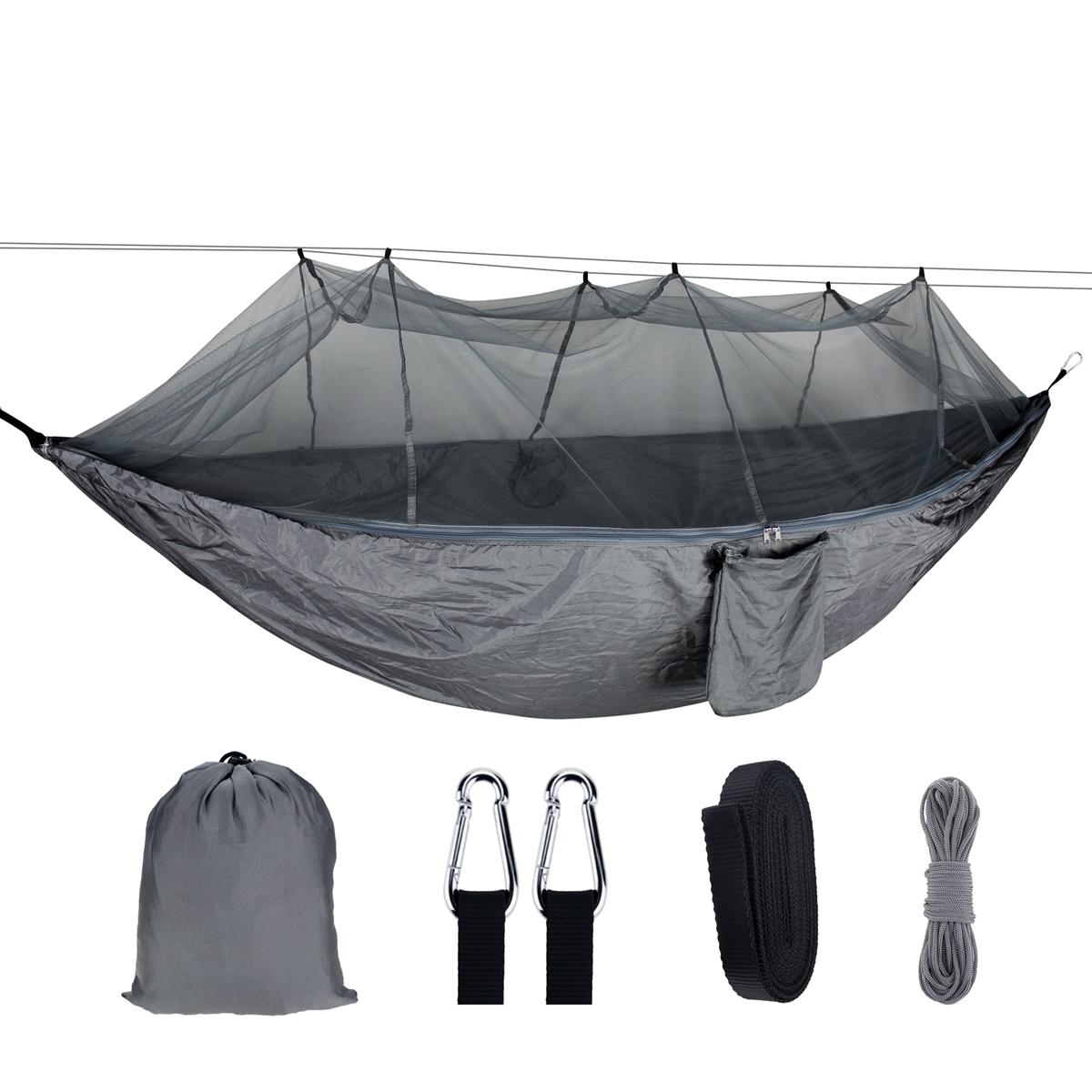 Человек Переносной На открытом воздухе Кемпинг Гамак с москитной сеткой Высокопрочная парашютная ткань Подвесная кровать Охота Спальн