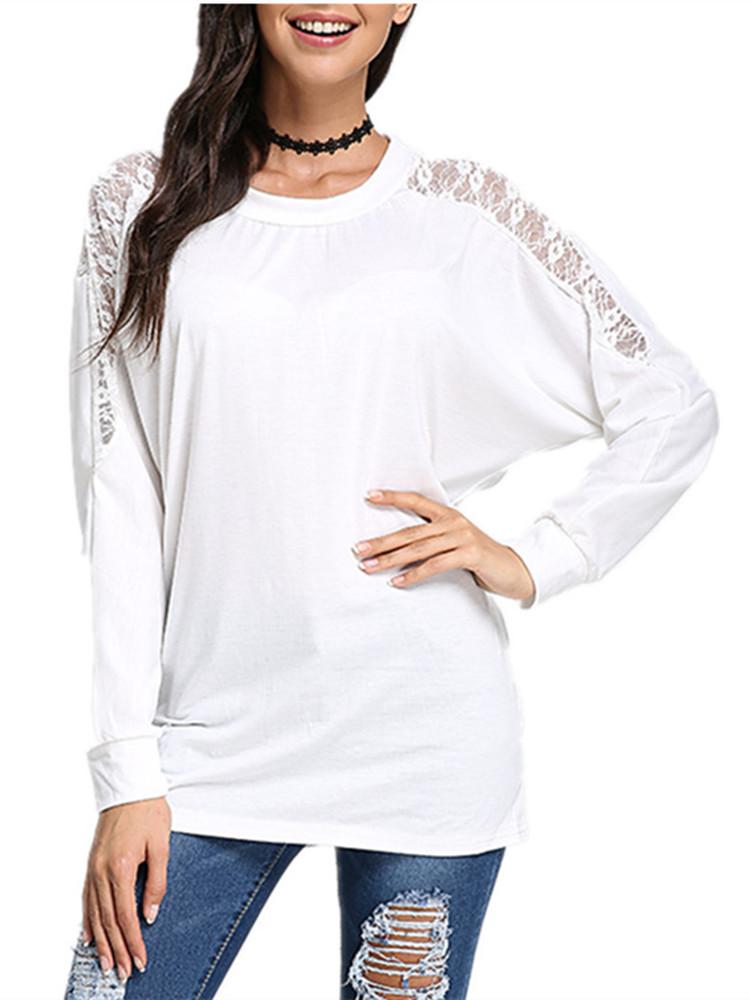 Женская свободная с длинным рукавом и кружевами блузка футболка