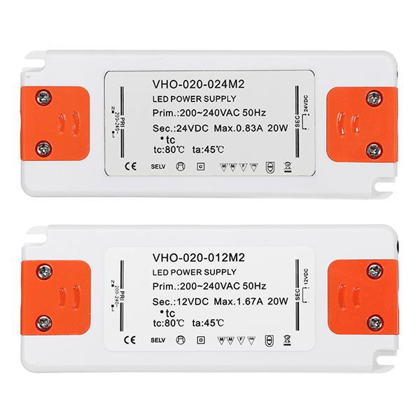 До DC12V / DC24V 20W Блок питания трансформатор освещения LED Драйвер для полосы света