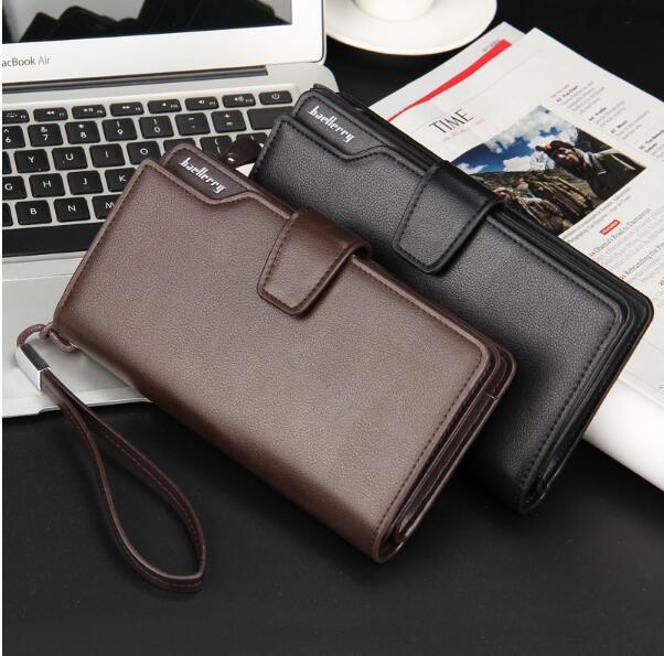 Мужчины бизнес кожа долго бумажник держатель сцепления кошелек сумка ID кредитной карты для сим iPhone Samsung