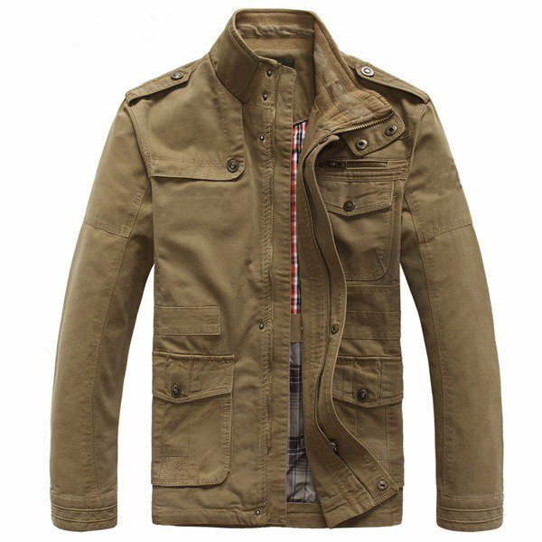 Большой размер S-5XL Мужская демисезонная куртка из шерсти и хлопка с молнией Пиджак Верхняя одежда