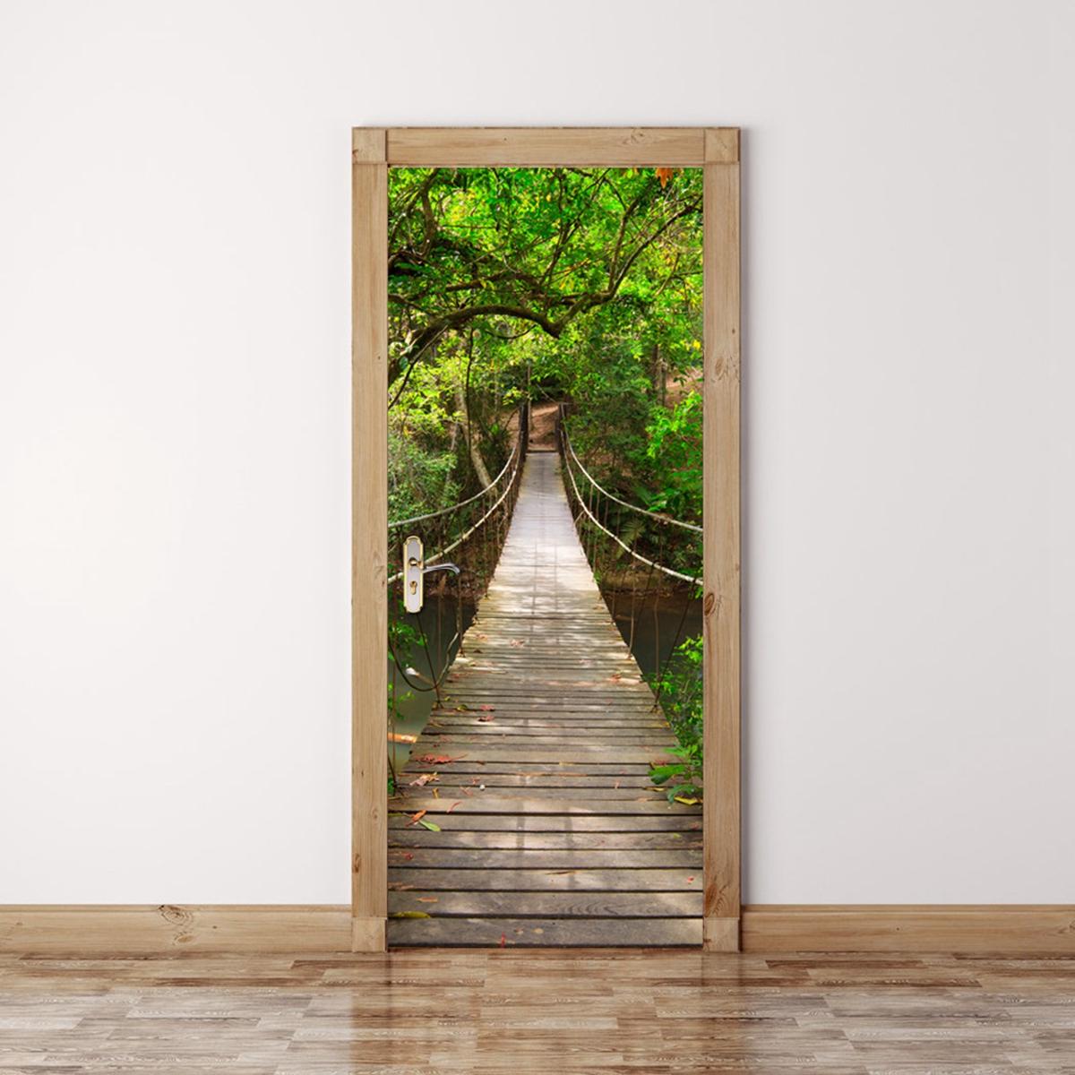 СМ 3D Деревянный Мост ПВХ Самоклеющиеся Двери Стикер Стены Гостиной Росписи Лесной Мост Декор