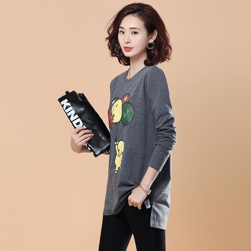 Женское Повседневная футболка с длинными рукавами и принтом с длинными рукавами