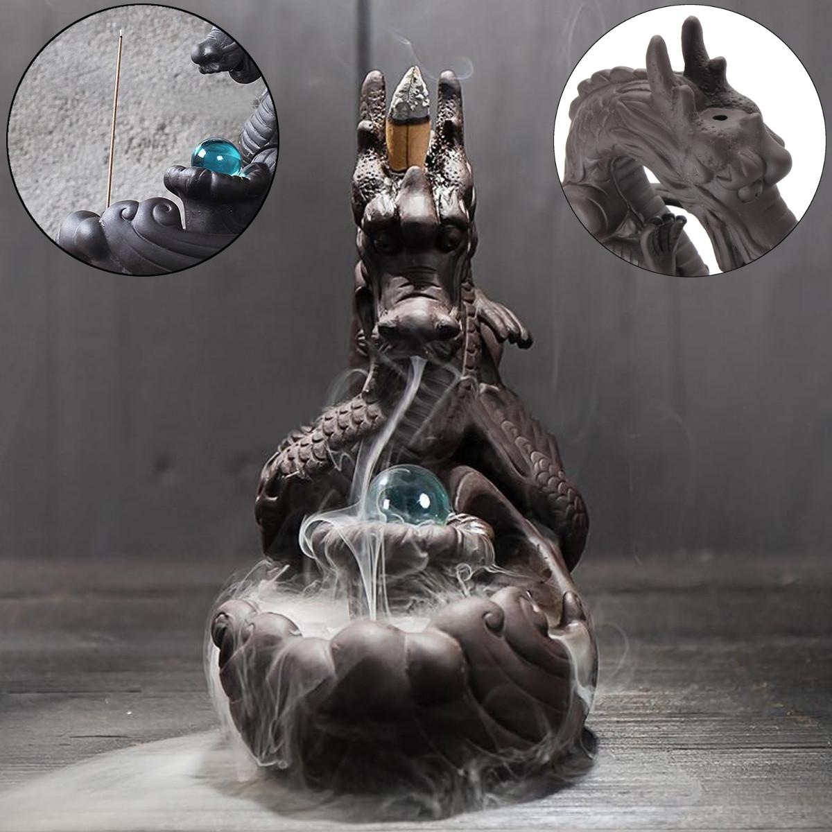 Фарфор Дракон Горелка с колбасой с обратным потоком Керамический Курительная палочка с стеклянным шариком