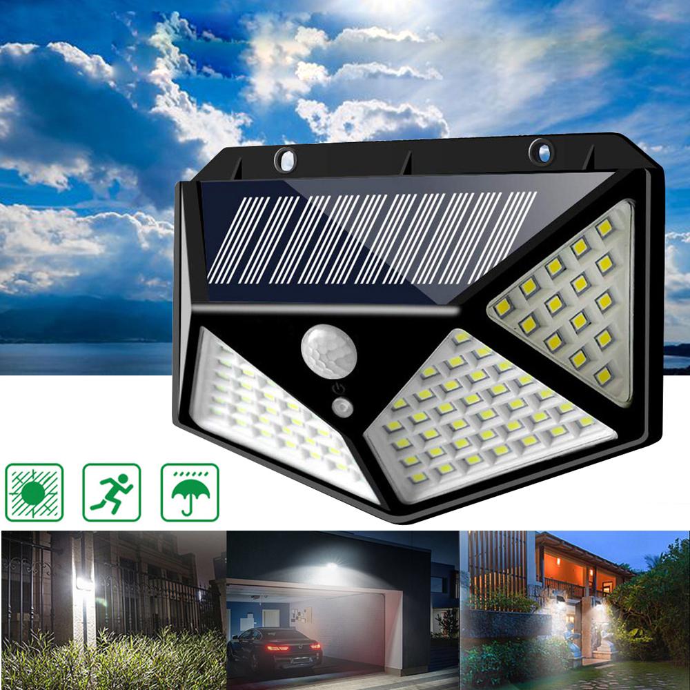 ® 100 LED Солнечная Powered PIR Motion Датчик Настенный светильник На открытом воздухе Сад Лампа 3 режима