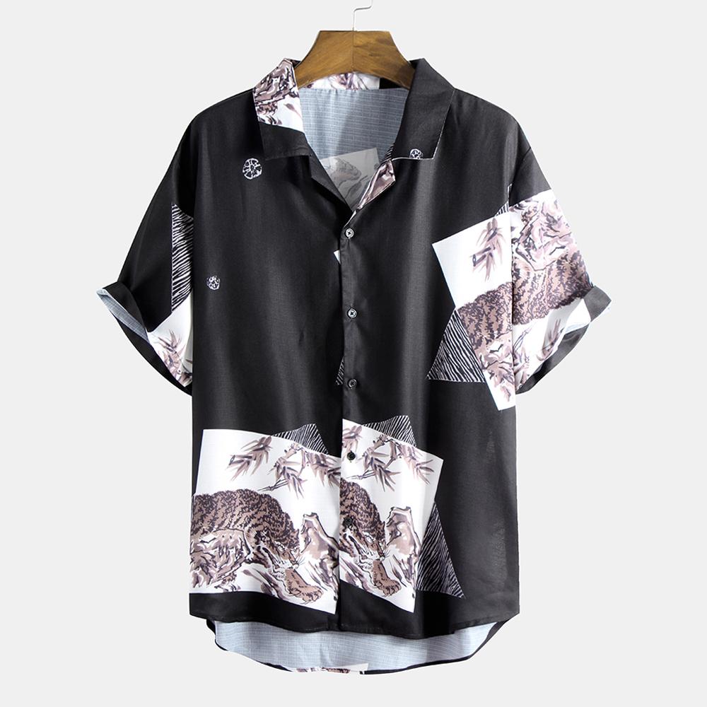 Мужские летние печатные дышащие свободные удобные рубашки