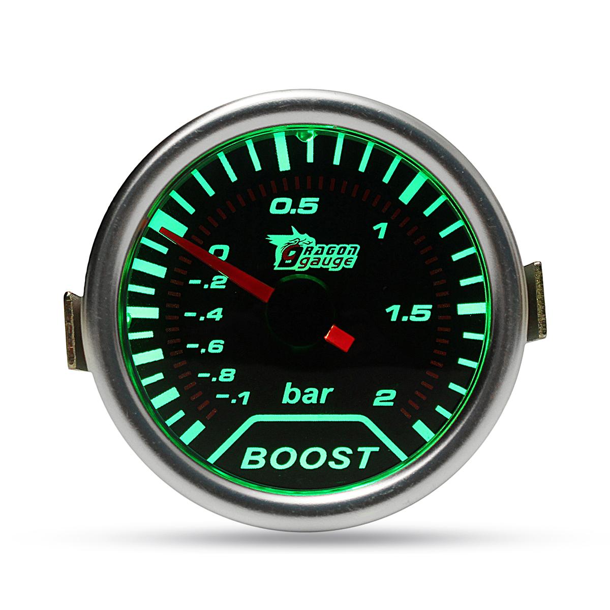Хромированное кольцо 52 мм 2 дюймов Зеленый LED БАР Турбо манометр повышения давления Копченый циферблат Вакуумная труба