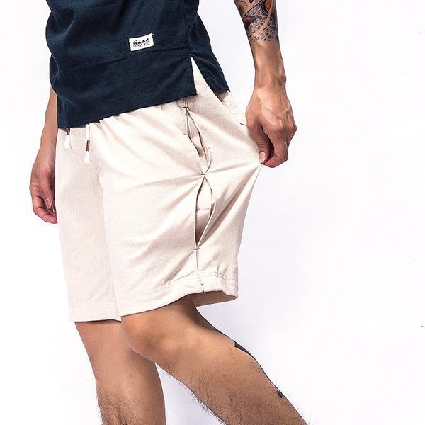 Мужские летние дышащие льняные хлопчатобумажные шорты Брюки