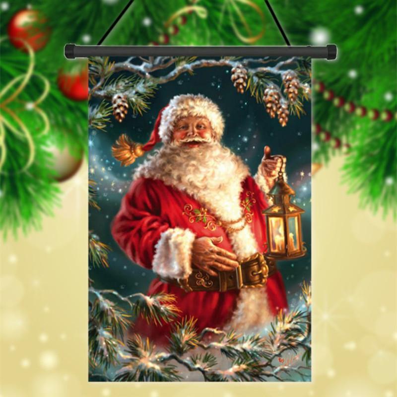 См Рождество Санта-Клаус полиэстер украшение праздника приветствовать флаг сад