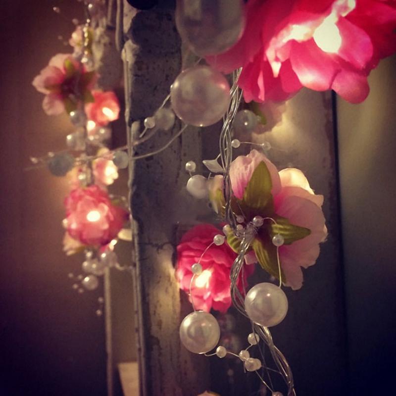 20LEDsCreativeDIYРождественскийсветодиодный светильник ручной ручной Малый шелковый цветок Фея Ночной свет Декор