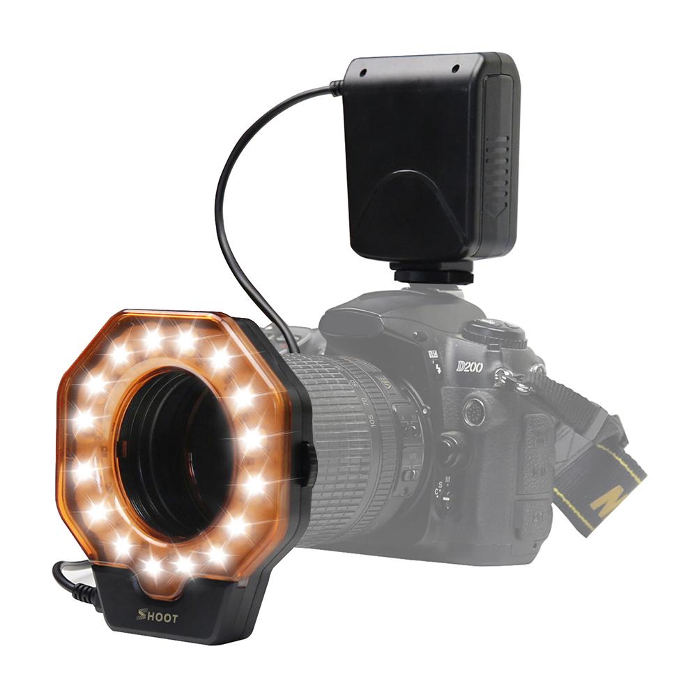 Макро-кольцевая вспышка LED GN15 6800K Диаметр 52 55 58 62 67 72 77 мм Кольцо адаптера