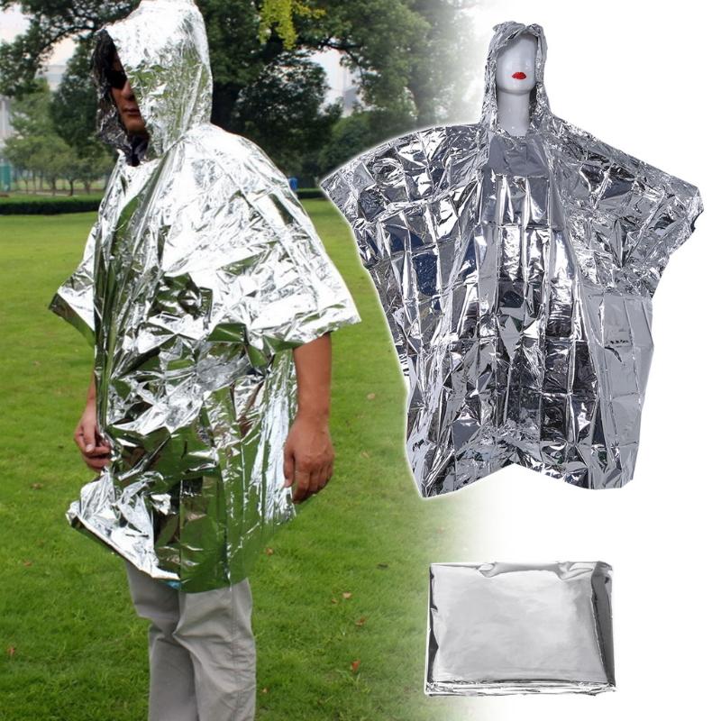 ®НаоткрытомвоздухеПереноснойаварийный плащ-пончо из одноразовой фольги Водонепроницаемы Спасательное одеяло для выживания