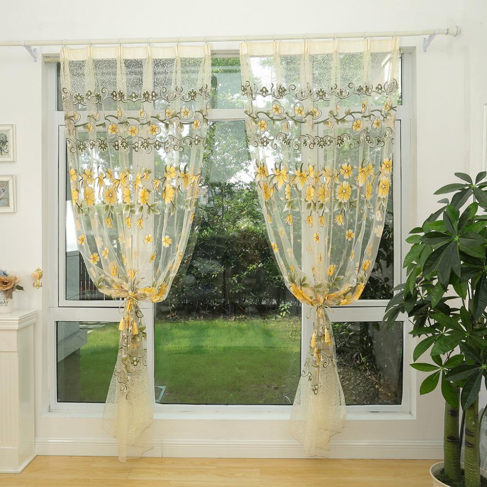 Мода Прозрачный тюль Шторы окна экрана Декор Гостиная Красочный Sheer занавес