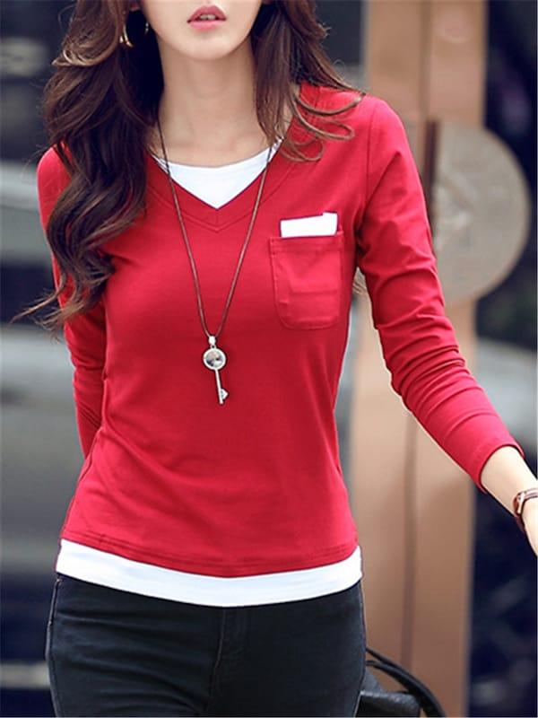 Женская повседневная футболка с длинным рукавом T Рубашка