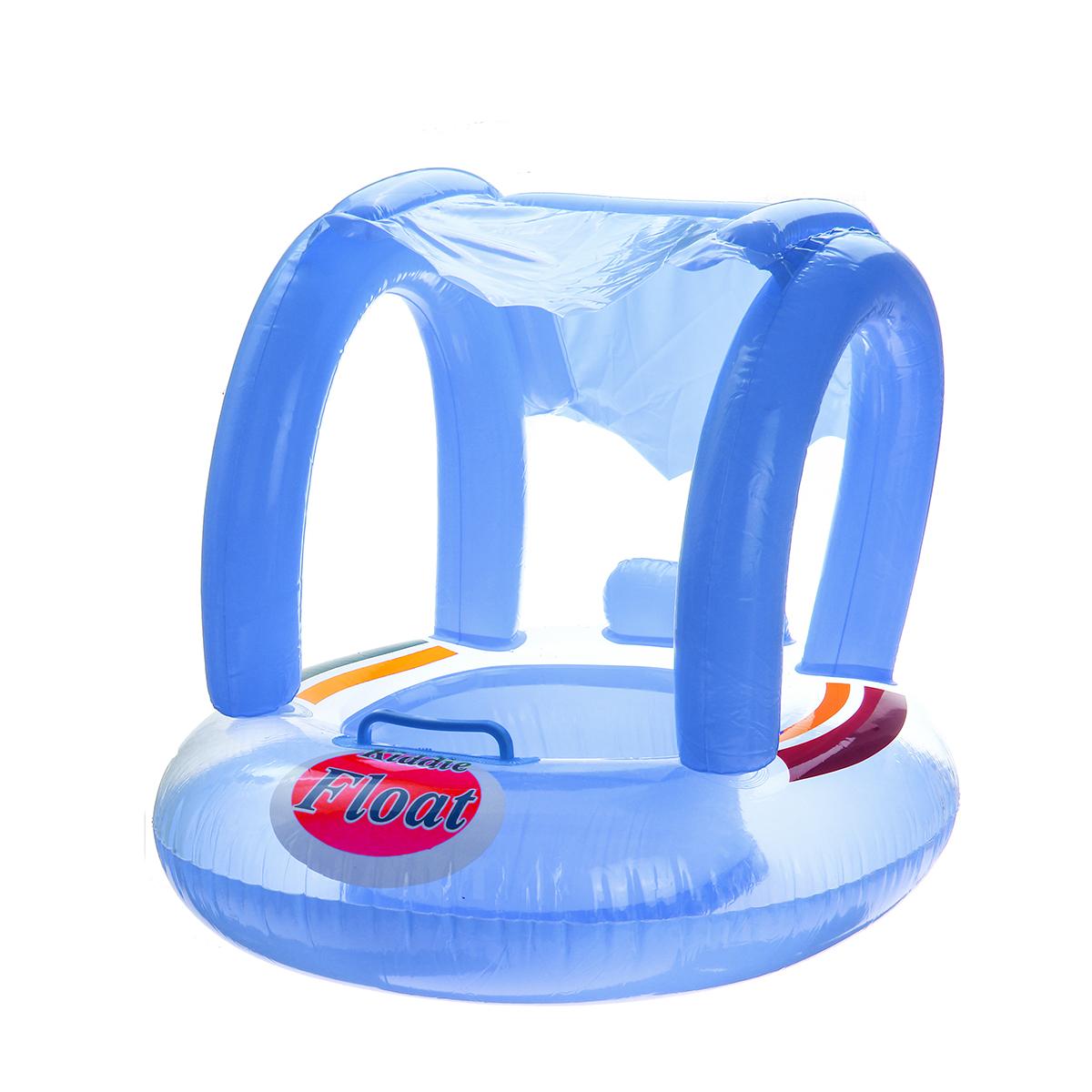 BabySwimSeatЛодкаНадувная поплавковая подушка Зонт от солнца для плавания - синий / Розовый