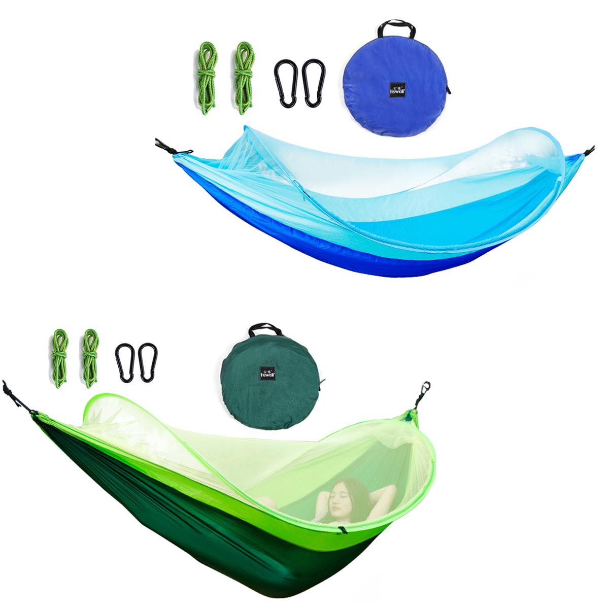 260x150смНаоткрытомвоздухеДвойной гамак Кемпинг Подвесная качающаяся кровать с москитной сеткой Макс. Нагрузка 200 кг