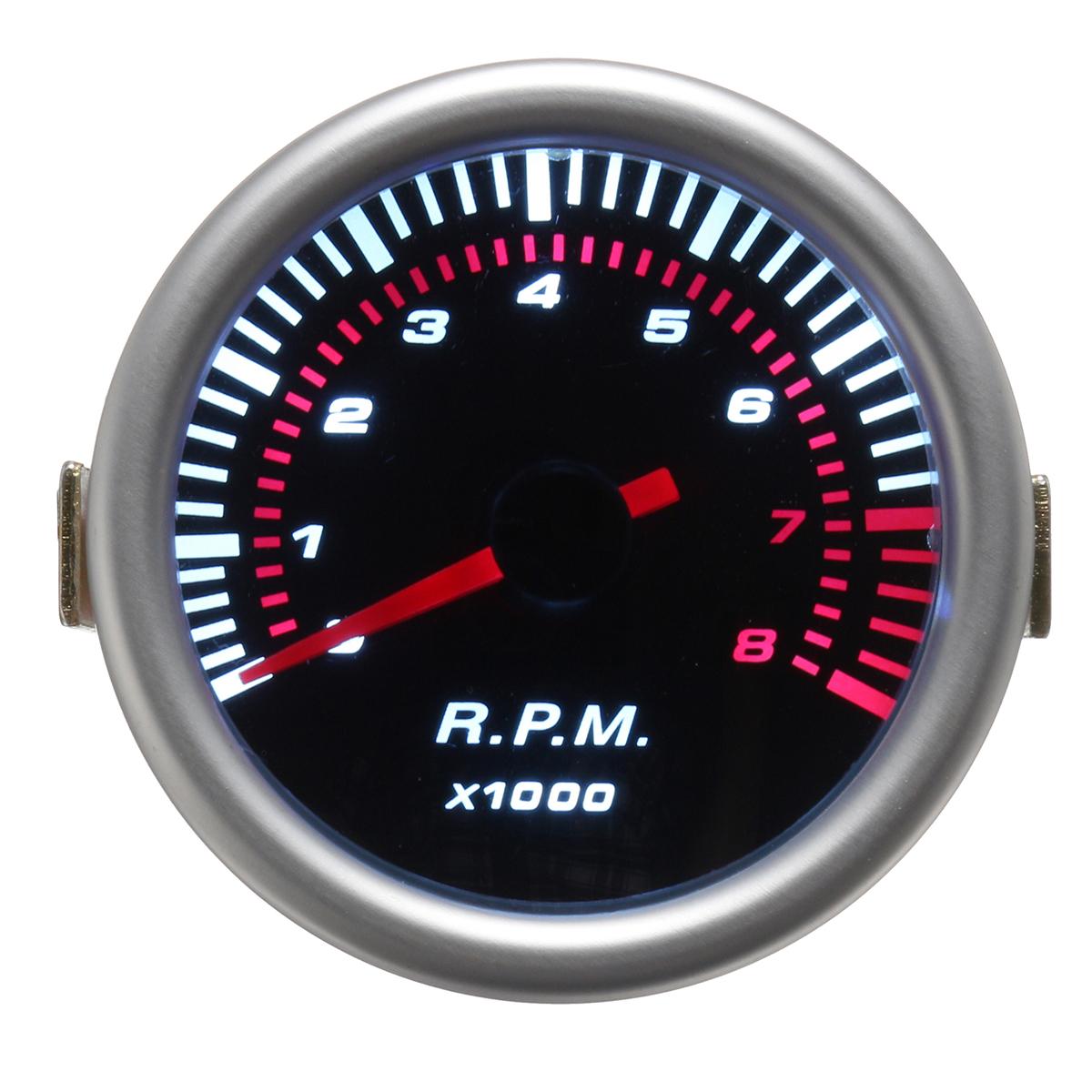 Универсальный Авто 52 мм 2 дюймов Счетчик тахометра Тахометр Указатель RPM Белый LED 12V