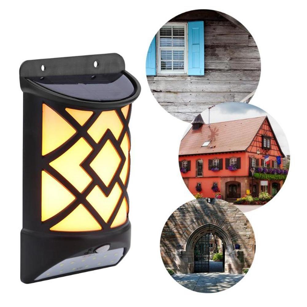 Солнечная Powered LED Flame Effect Light-controlled PIR Motion Датчик Wall Light На открытом воздухе Сад Yard