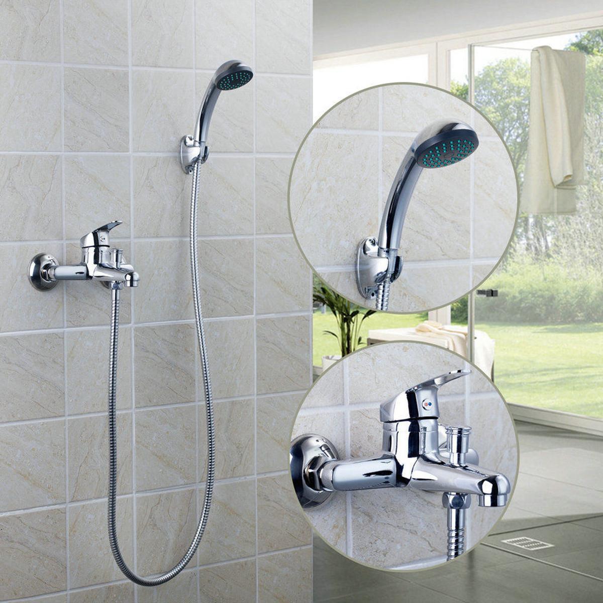 Хром настенный Ванная комната Смеситель для душа и ванны с ручным распылителем