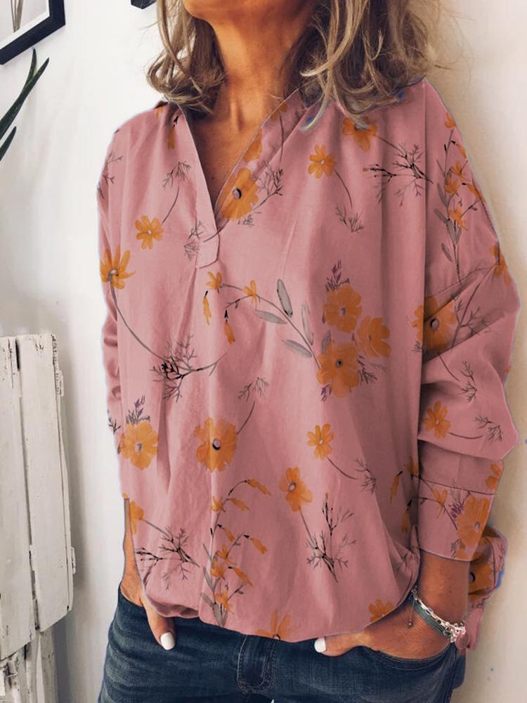Женский V-образный вырез с длинными рукавами и цветочным принтом Повседневная Рубашка