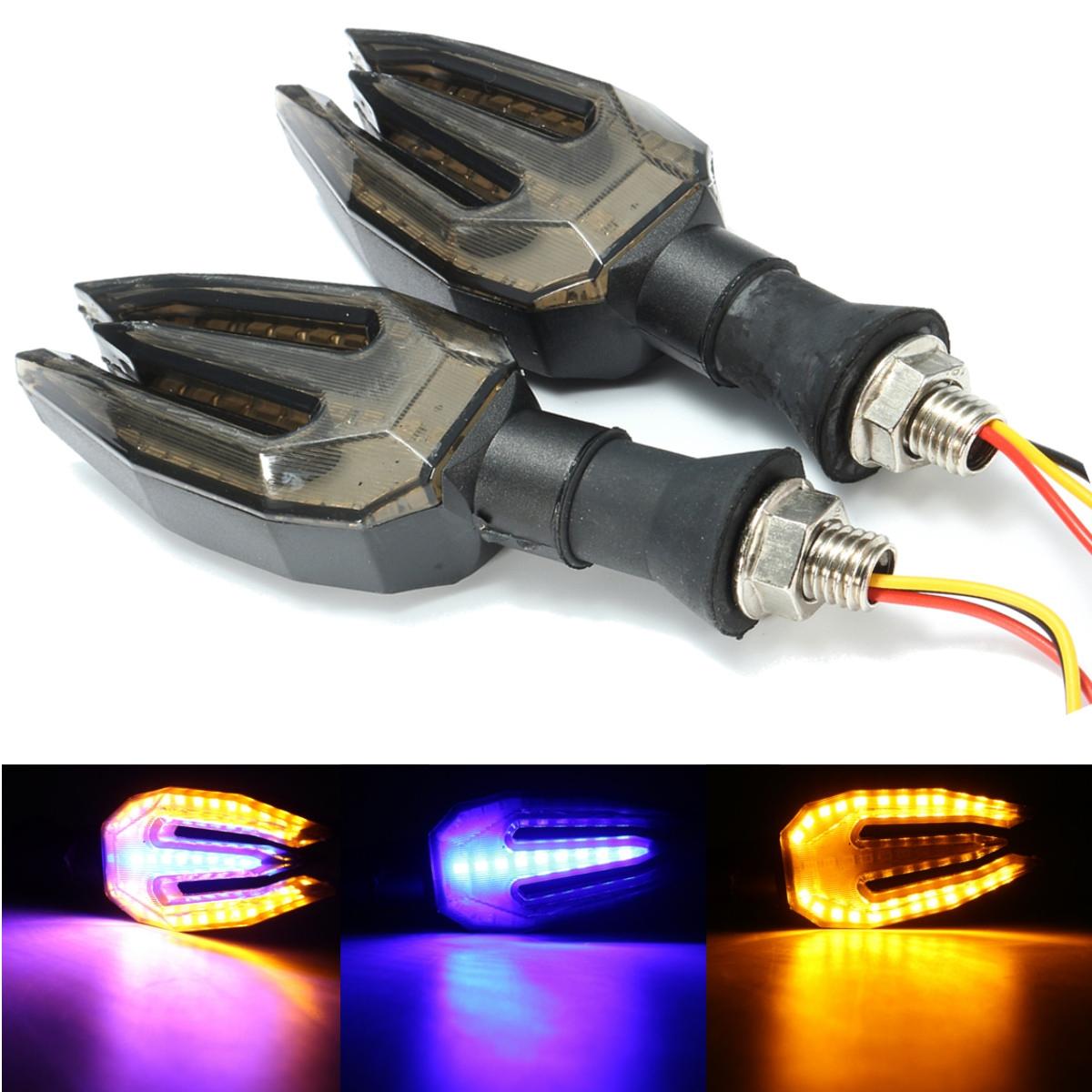 Двойной цвет LED Сигнал поворота Янтарный фиолетовый мотоцикл Индикатор работает тормозной свет