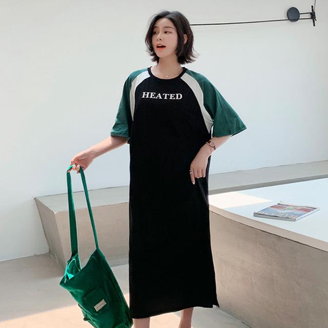 Женская длинная женская длинная длинная женская футболка с короткими рукавами и юбкой Trend Платье