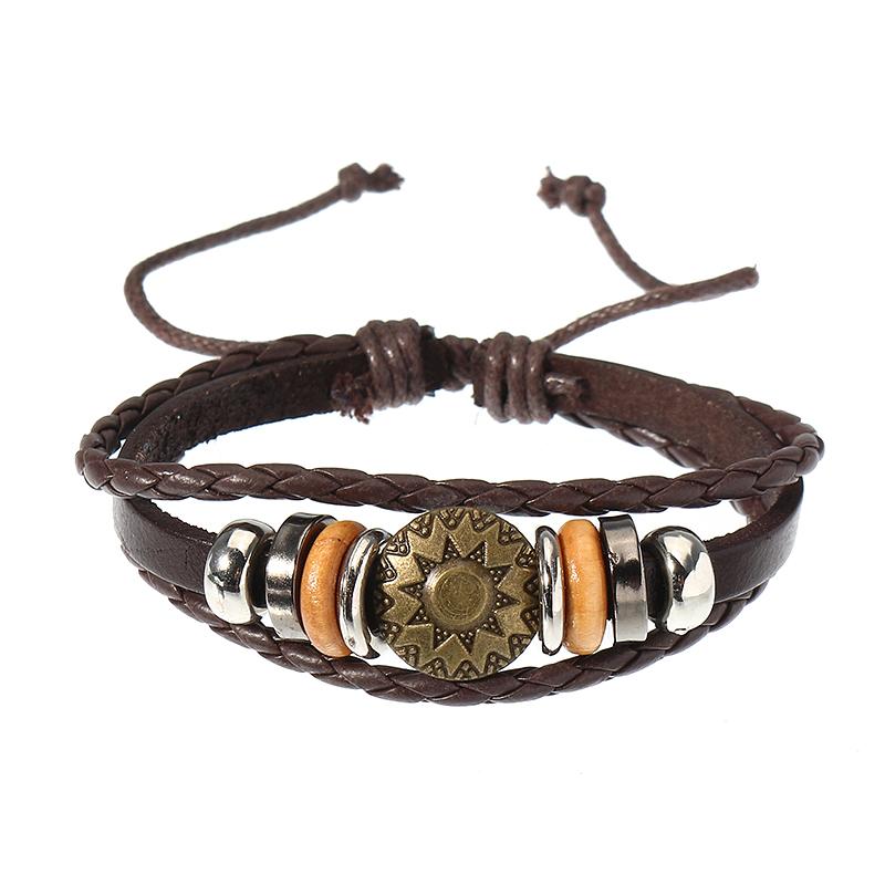 Мужчины Женское Punk Bracelet Винтаж Кожаный круглый тканый браслет Unisex