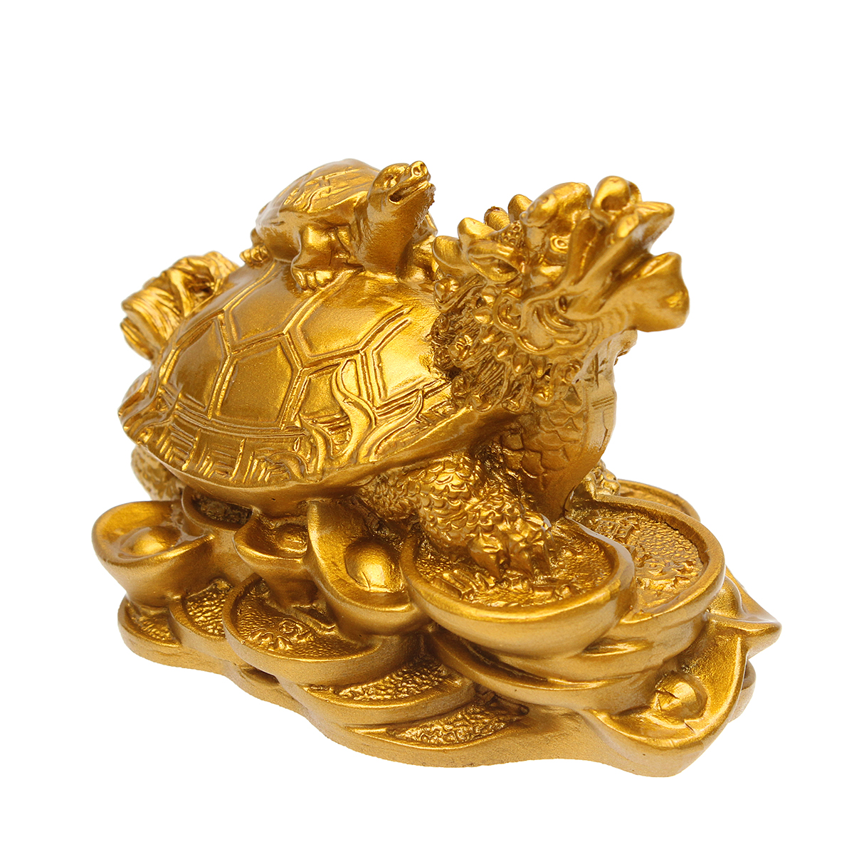 Смола Статуя Украшение Фен-шуй Дракон Черепаха Черепаха Золотая монета Деньги Богатство Статуэтка