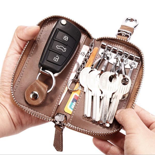 Женщины Мужская кожа ключа автомобиля сумка кошелек автомобиля Домработница держатель