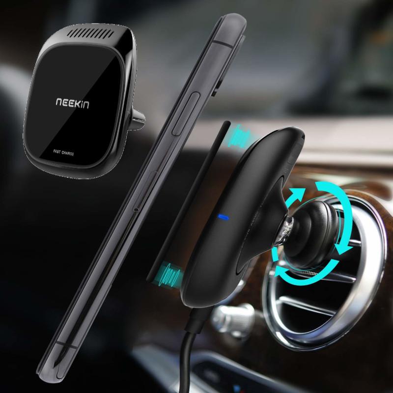 MetalGlassMagnetic3In 1 10W Qi Беспроводное зарядное устройство Быстрая зарядка с Авто Aroma Диффузор Авто Air Vent Phone Держатель для 4.7 дюймов - 6.5 дюй