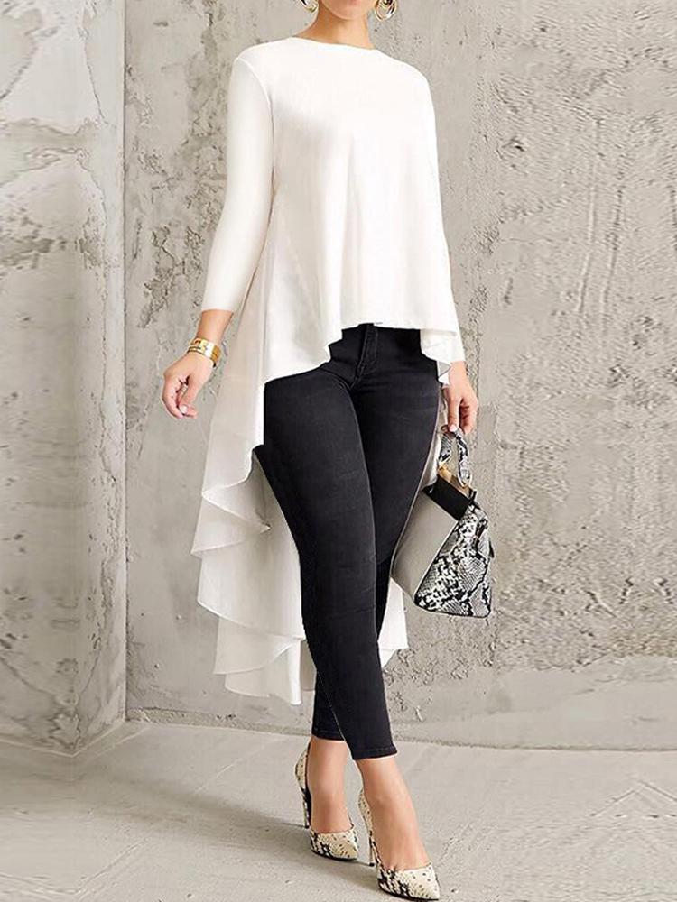 Женская футболка с длинным рукавом Шея Блузка с высоким низом