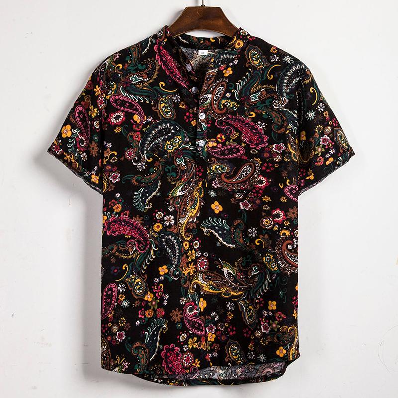 Мужские летние модные этнические набивные дышащие повседневные рубашки