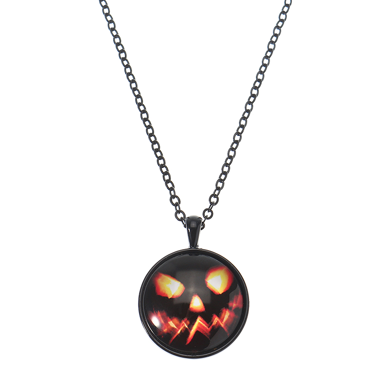 Хэллоуин Тыква Ведьма Ожерелье Смазливая Цепь Время Gem Glass Кулон Necklacee